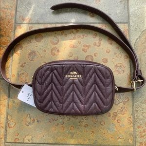 """Coach Quilted Belt Bag Oxblood, NWT TO 43"""" waist"""